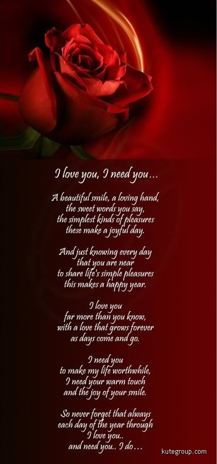 (Romantic Poem I Love You and ) short i miss you poems
